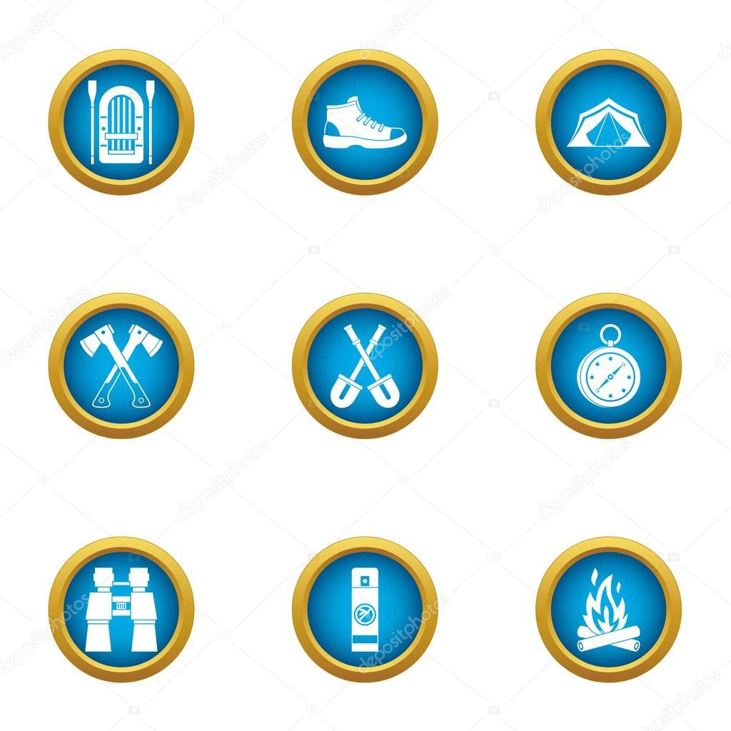 Journey to the mystery icons set, flat style