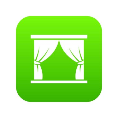 Curtain on stage icon digital green