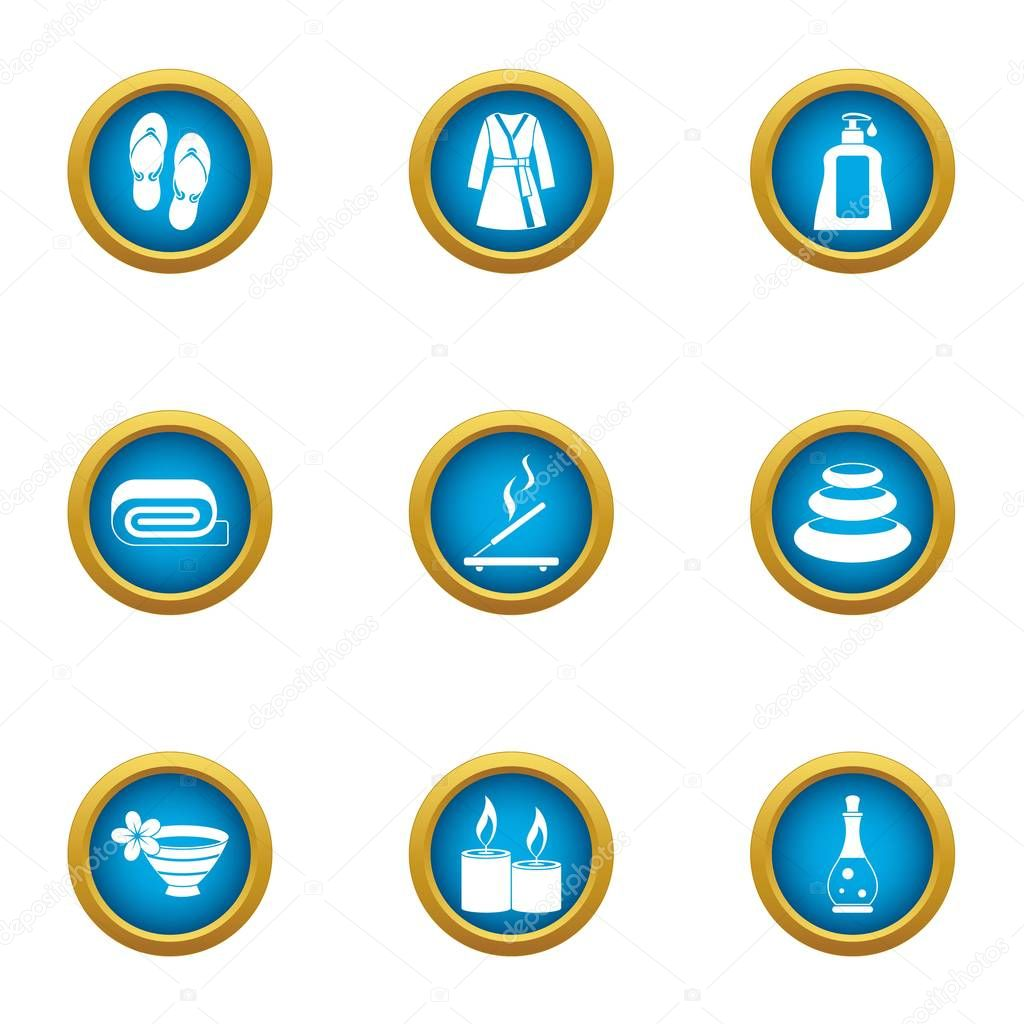 Relaxing bath icons set, flat style