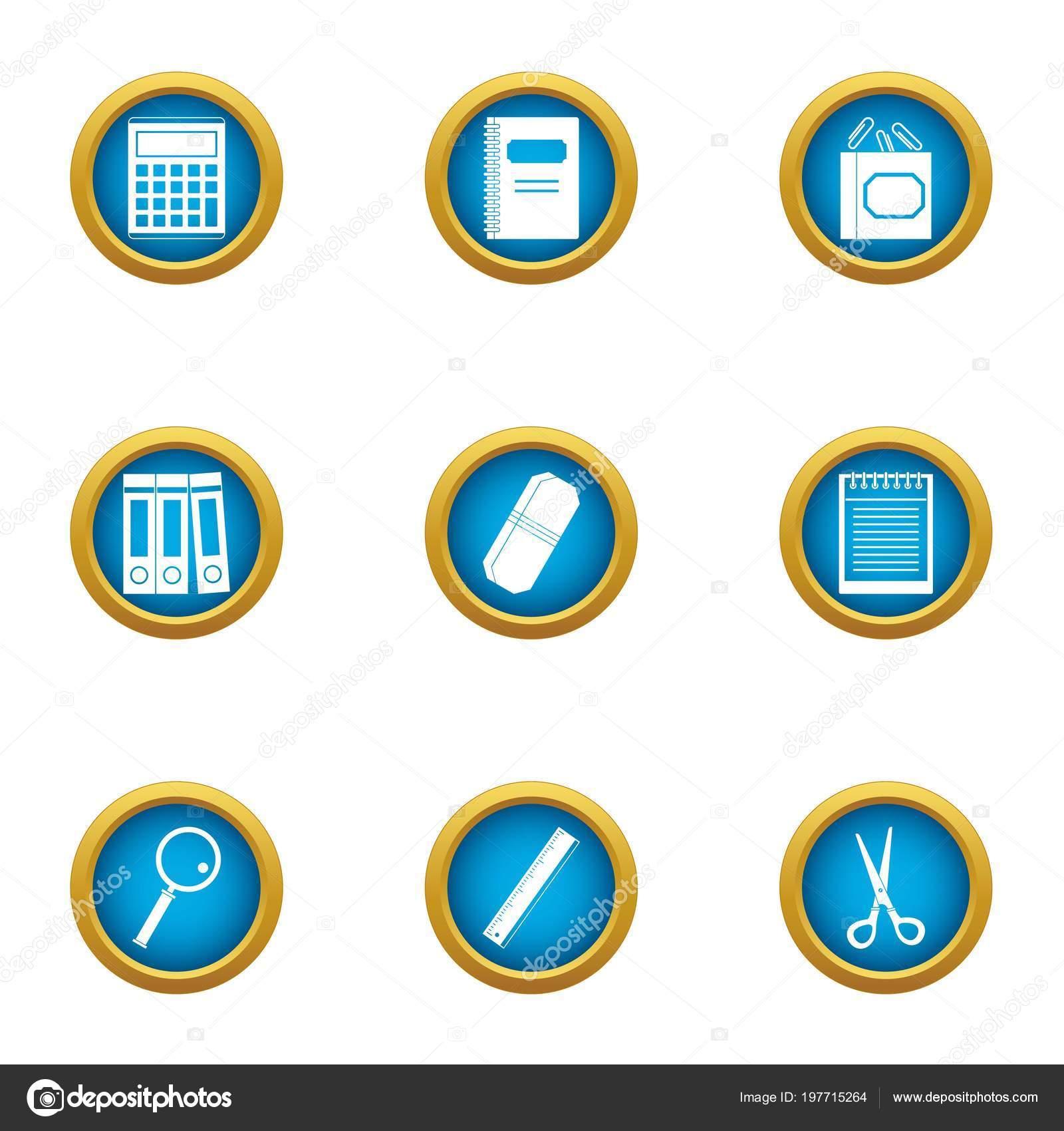 Buch Rechnungswesen Icons Set Flachen Stil Stockvektor