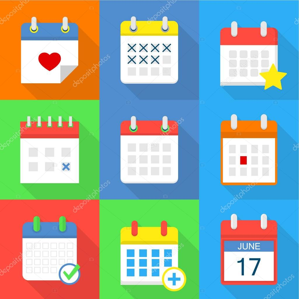 Calendar icons set, flat style