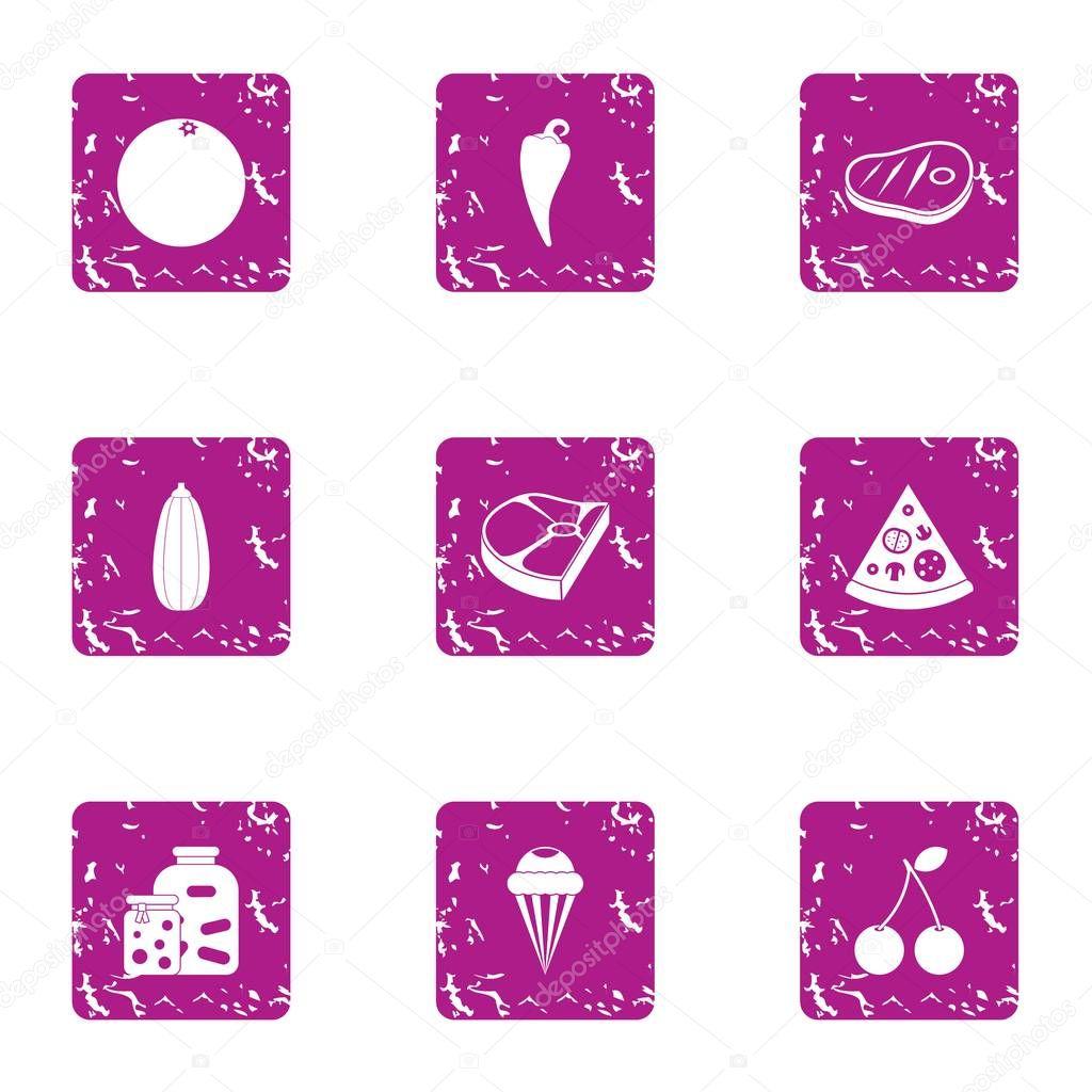 Viand icons set, grunge style