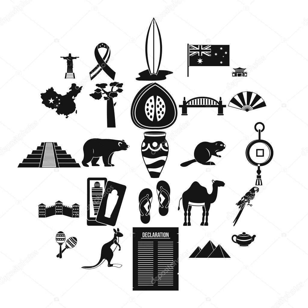 Attraction icons set, simple style