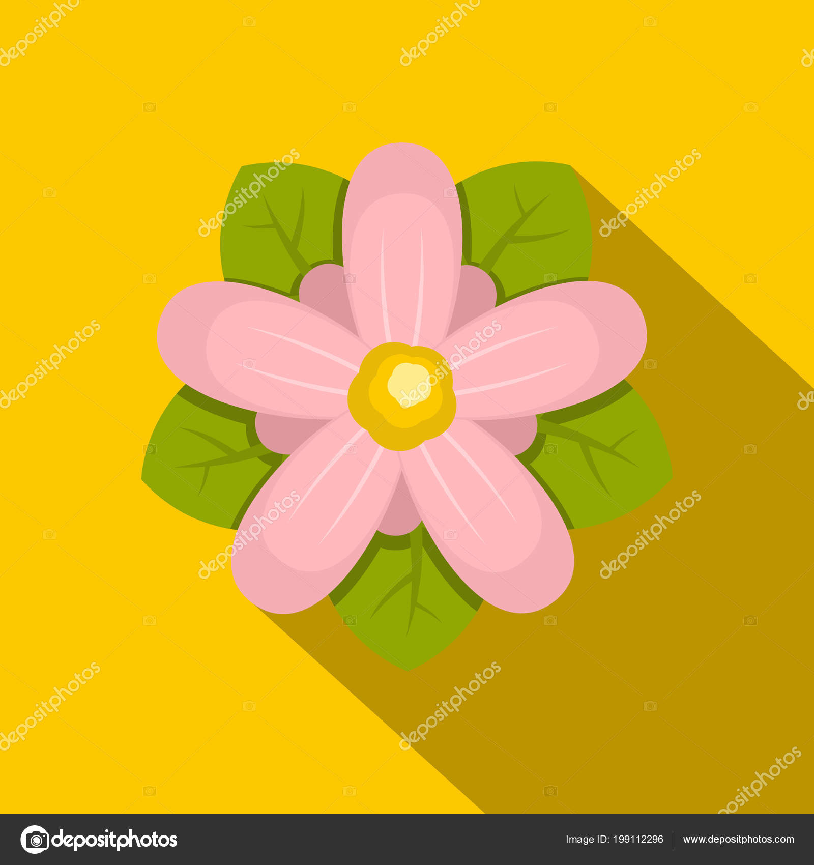 Pink flower icon flat style stock vector ylivdesign 199112296 pink flower icon flat style stock vector mightylinksfo