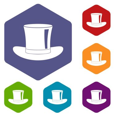Silk hat icons set hexagon