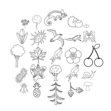 Woodland icons set, outline style