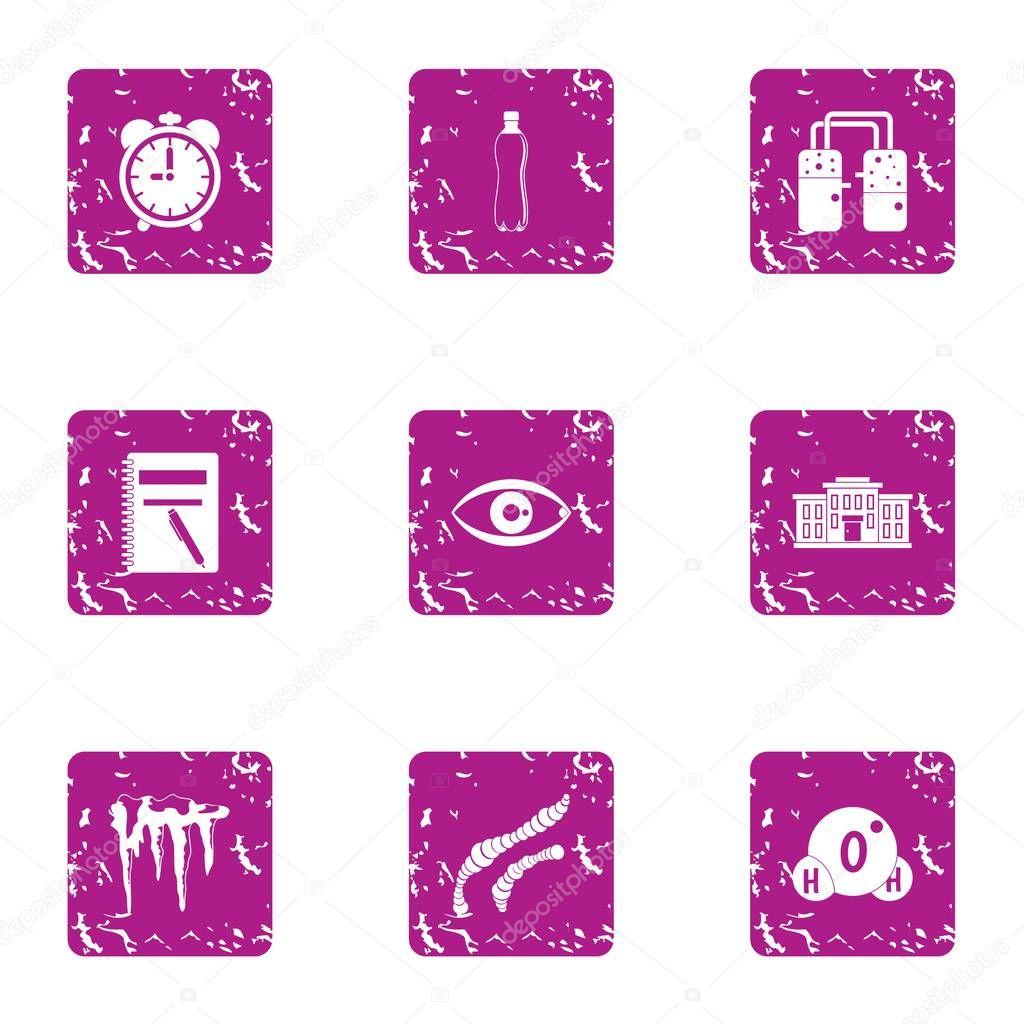 Moisture icons set, grunge style