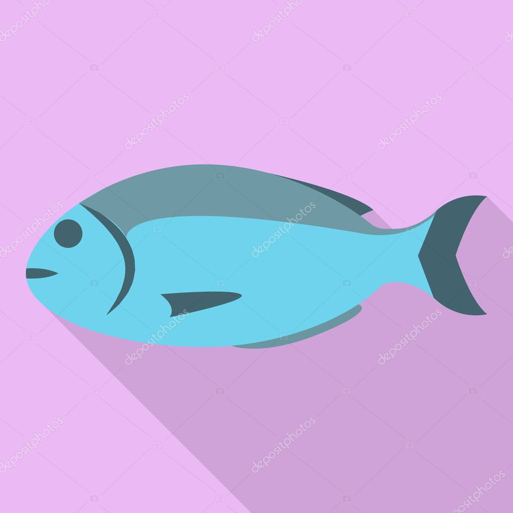 Sea fish icon, flat style
