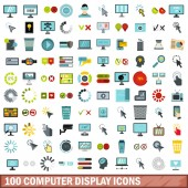 Fotografie 100 computer display icons set, flat style