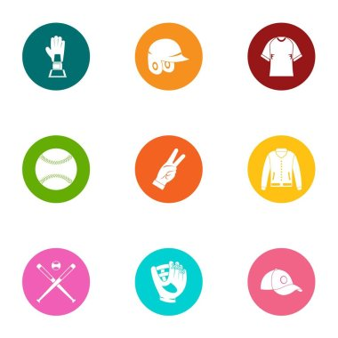 Type of sport icons set, flat style