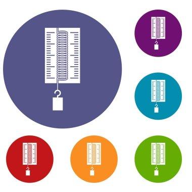 Physics dynamometer for laboratory work icons set