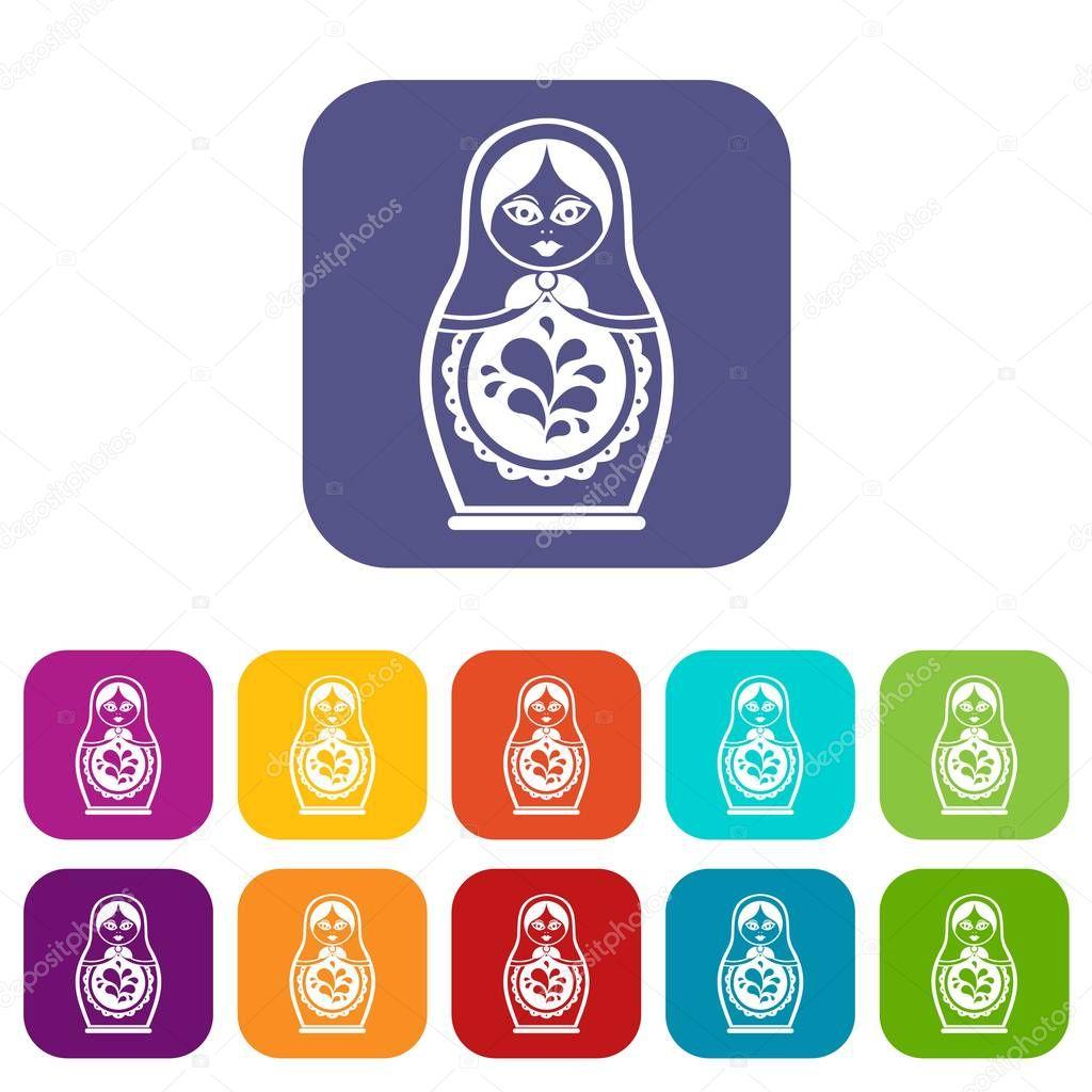 Matryoshka icons set