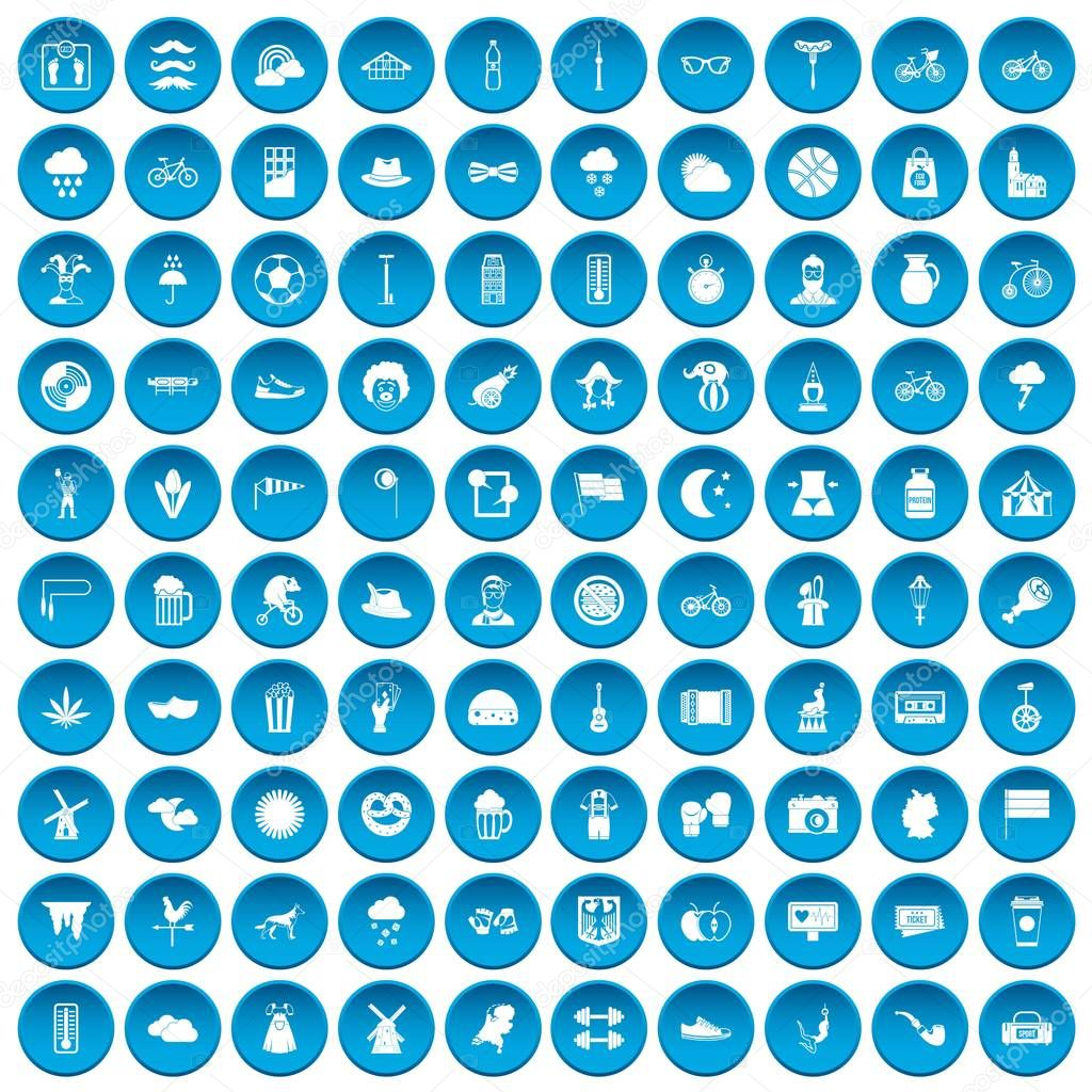 100 bicycle icons set blue