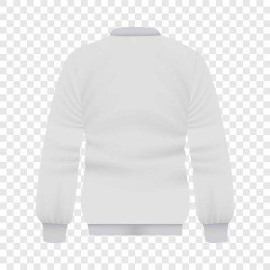 Back of white baseball jacket mockup. Realistic illustration of back of white baseball jacket vector mockup for web stock vector