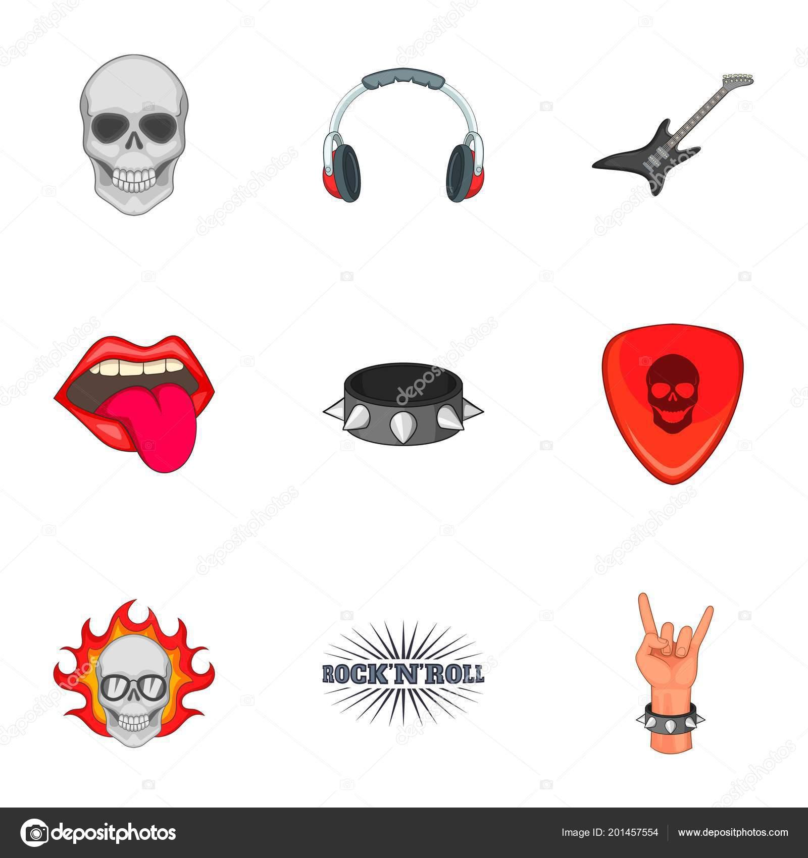 Rock N Roll Etiqueta Iconos Conjunto Estilo De Dibujos