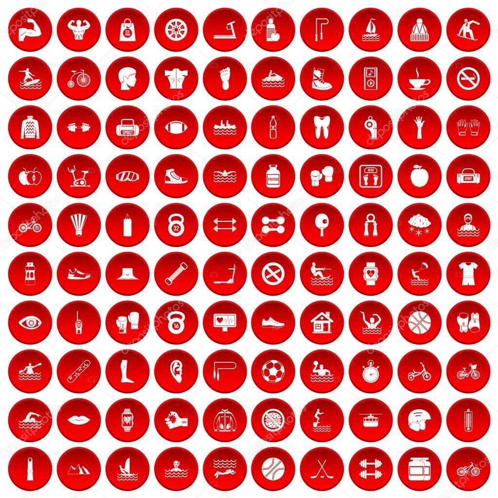 100 men health icons set red