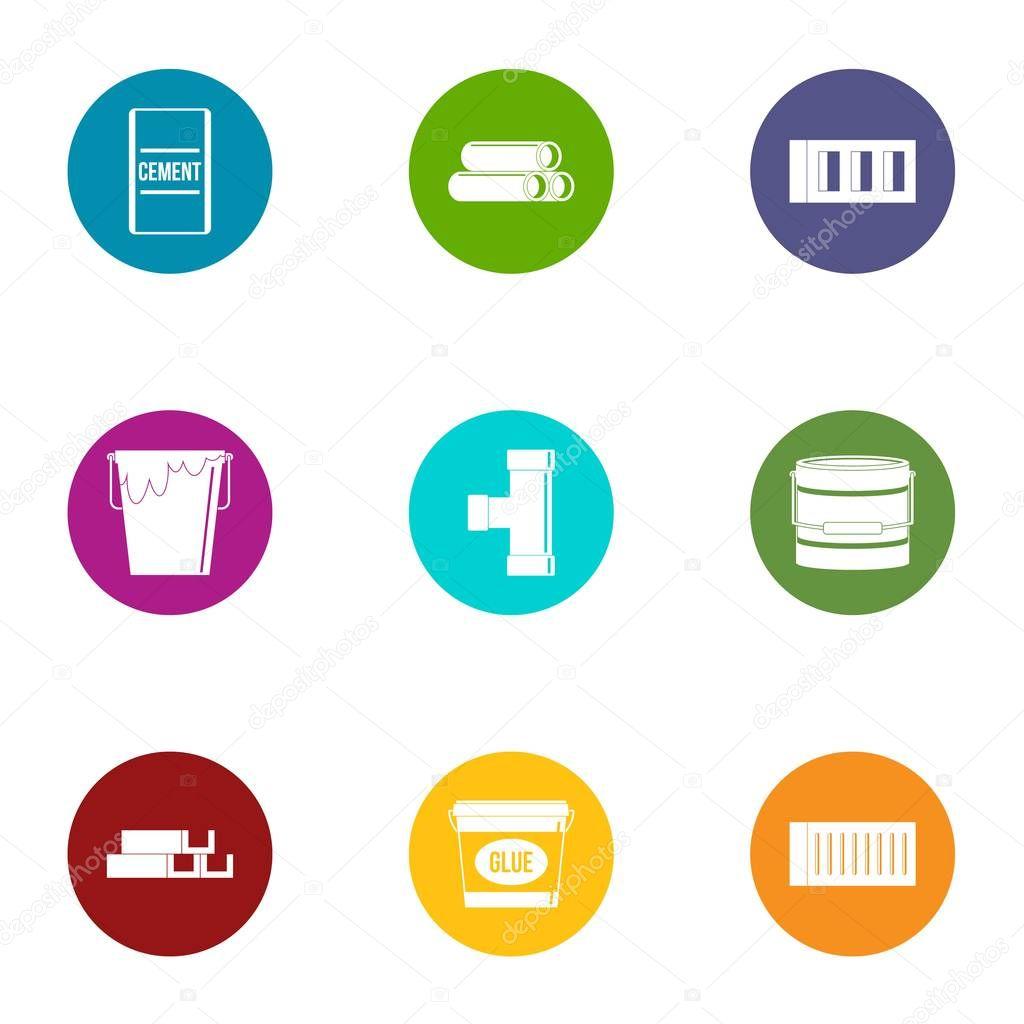 Adhesive icons set, flat style