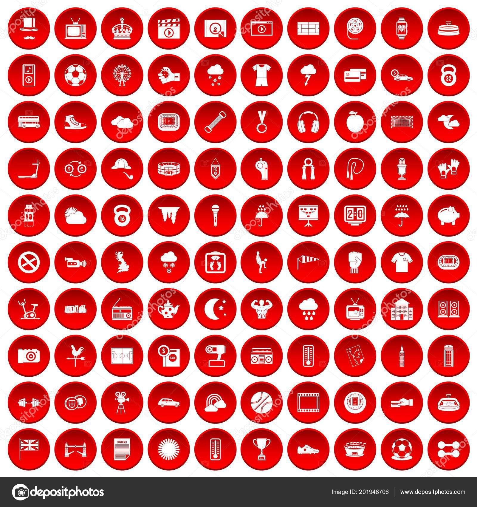 100 Fussball Icons Set Rot Stockvektor C Ylivdesign 201948706