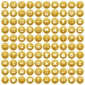 Fotografie 100 bus icons set gold