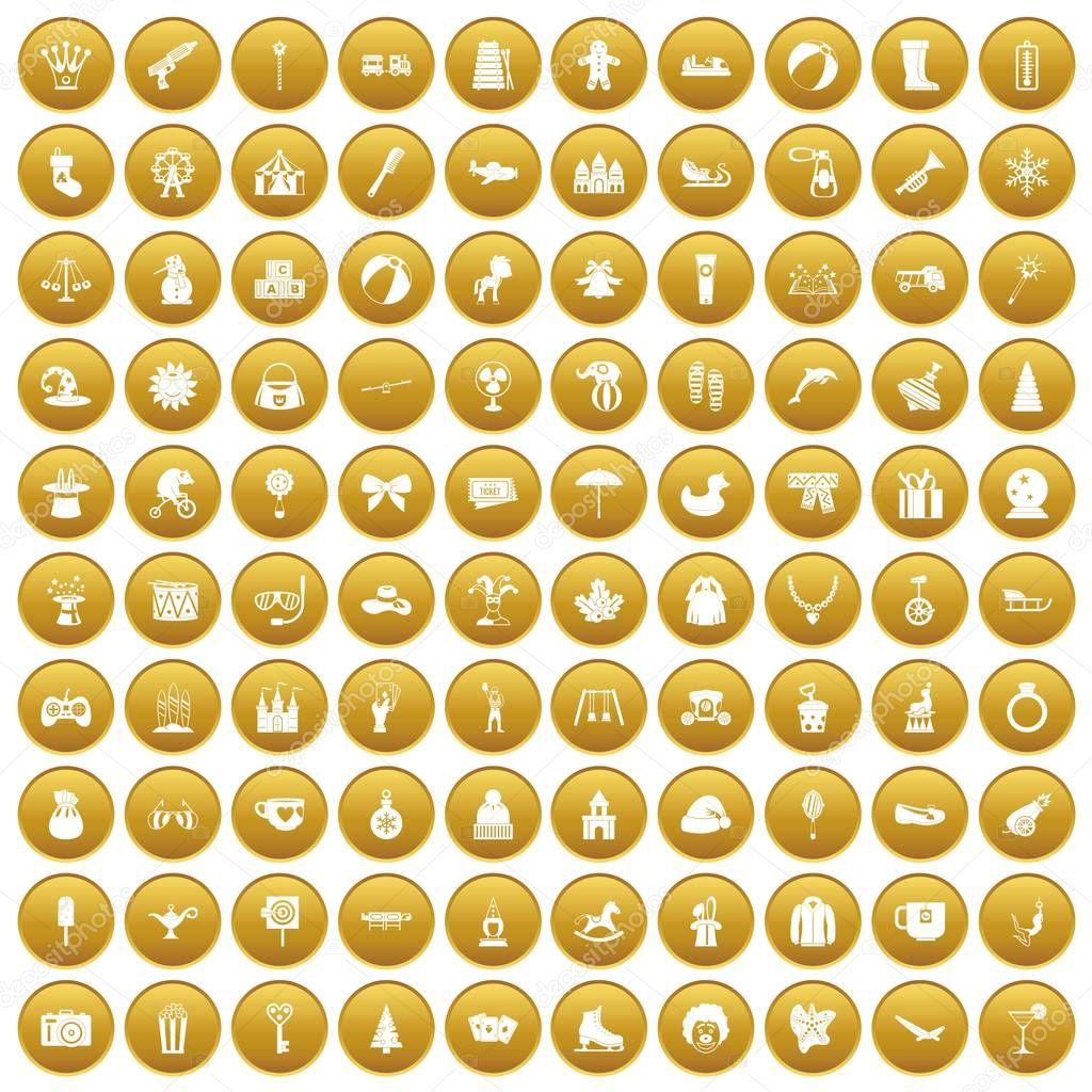 100 children icons set gold