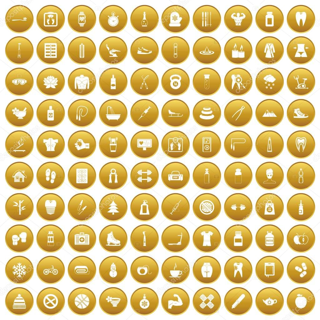 100 fit body icons set gold