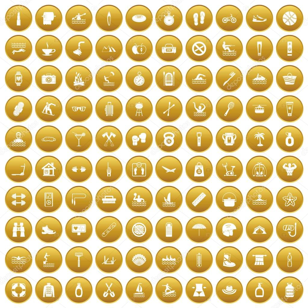 100 human health icons set gold