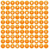 Fotografie 100 bus icons set orange