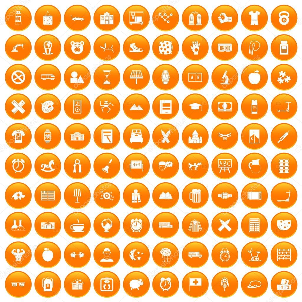 100 alarm clock icons set orange