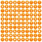 Fotografie 100 happy childhood icons set orange