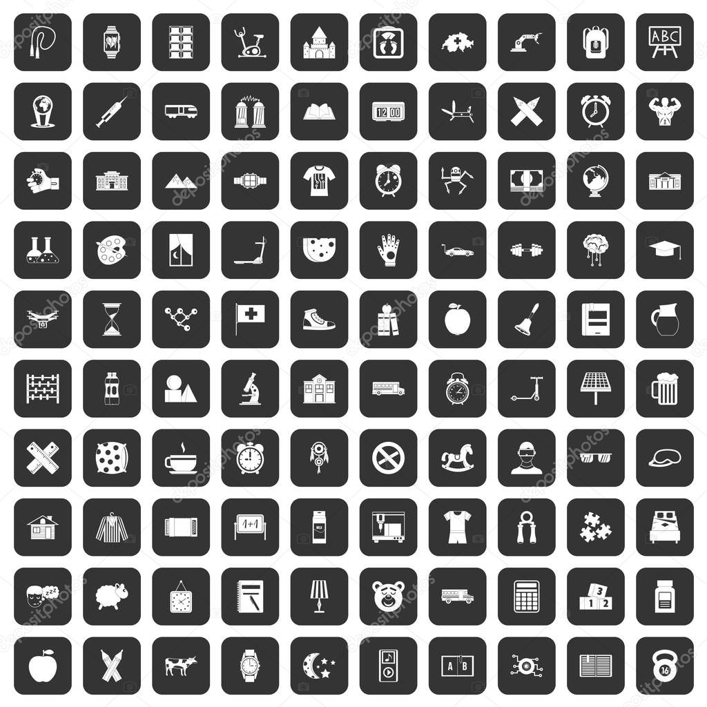 100 alarm clock icons set black