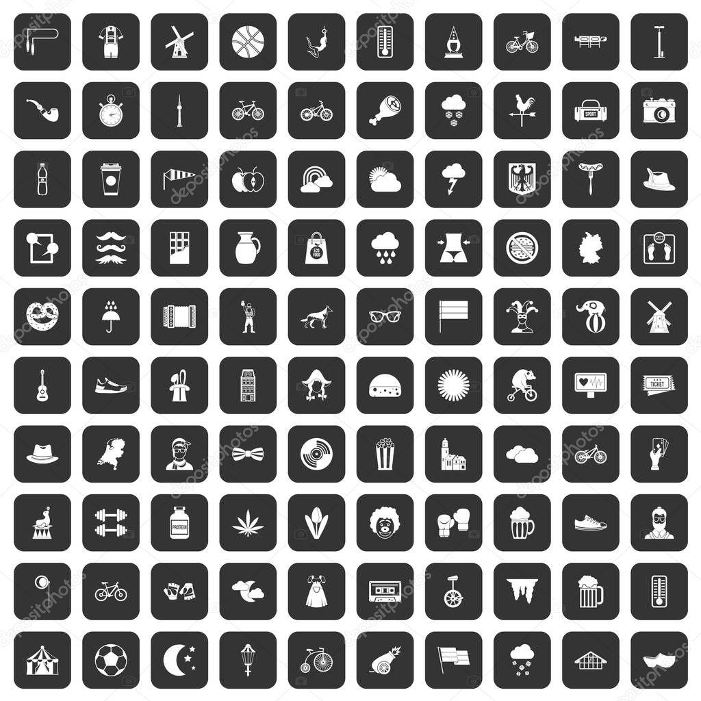 100 bicycle icons set black
