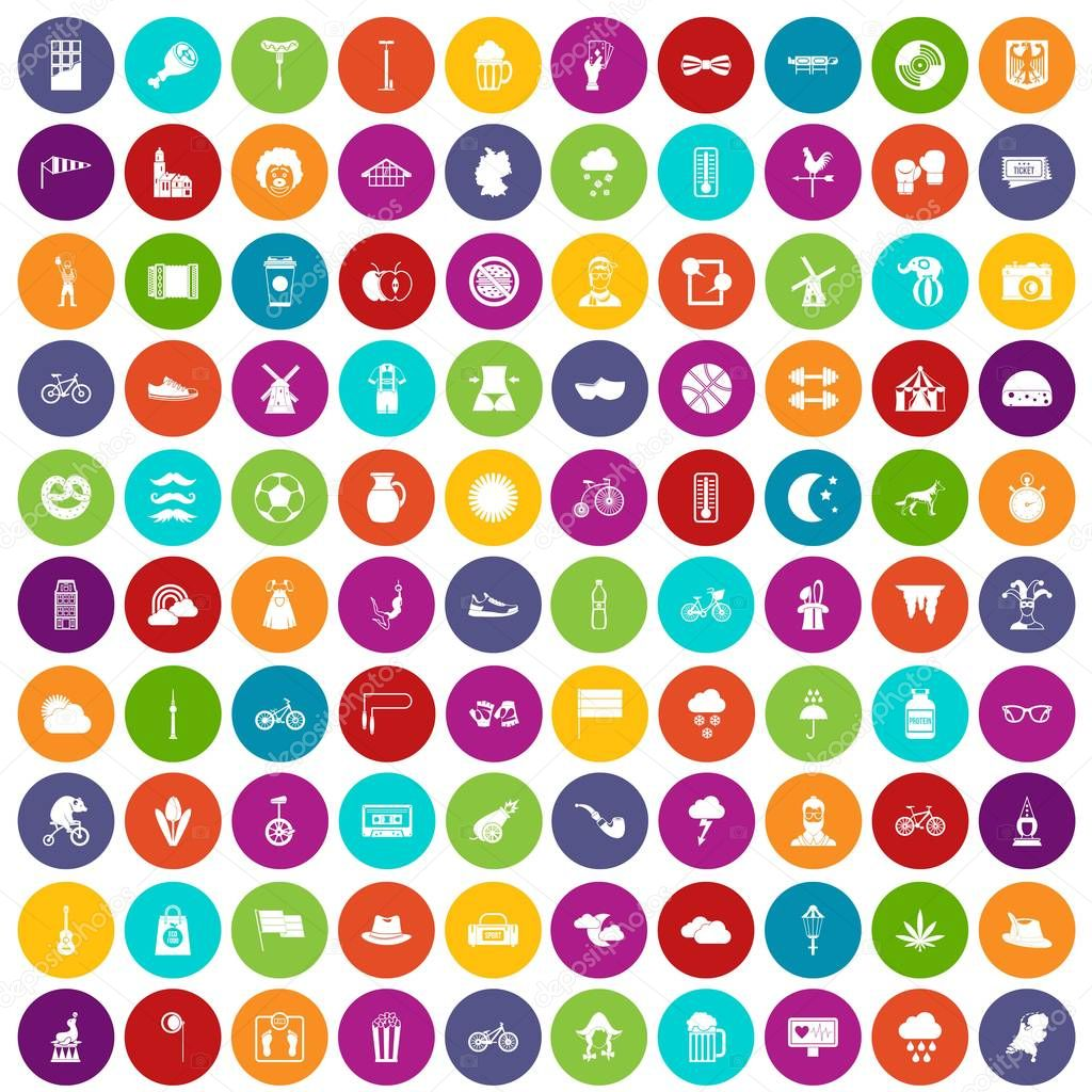 100 bicycle icons set color