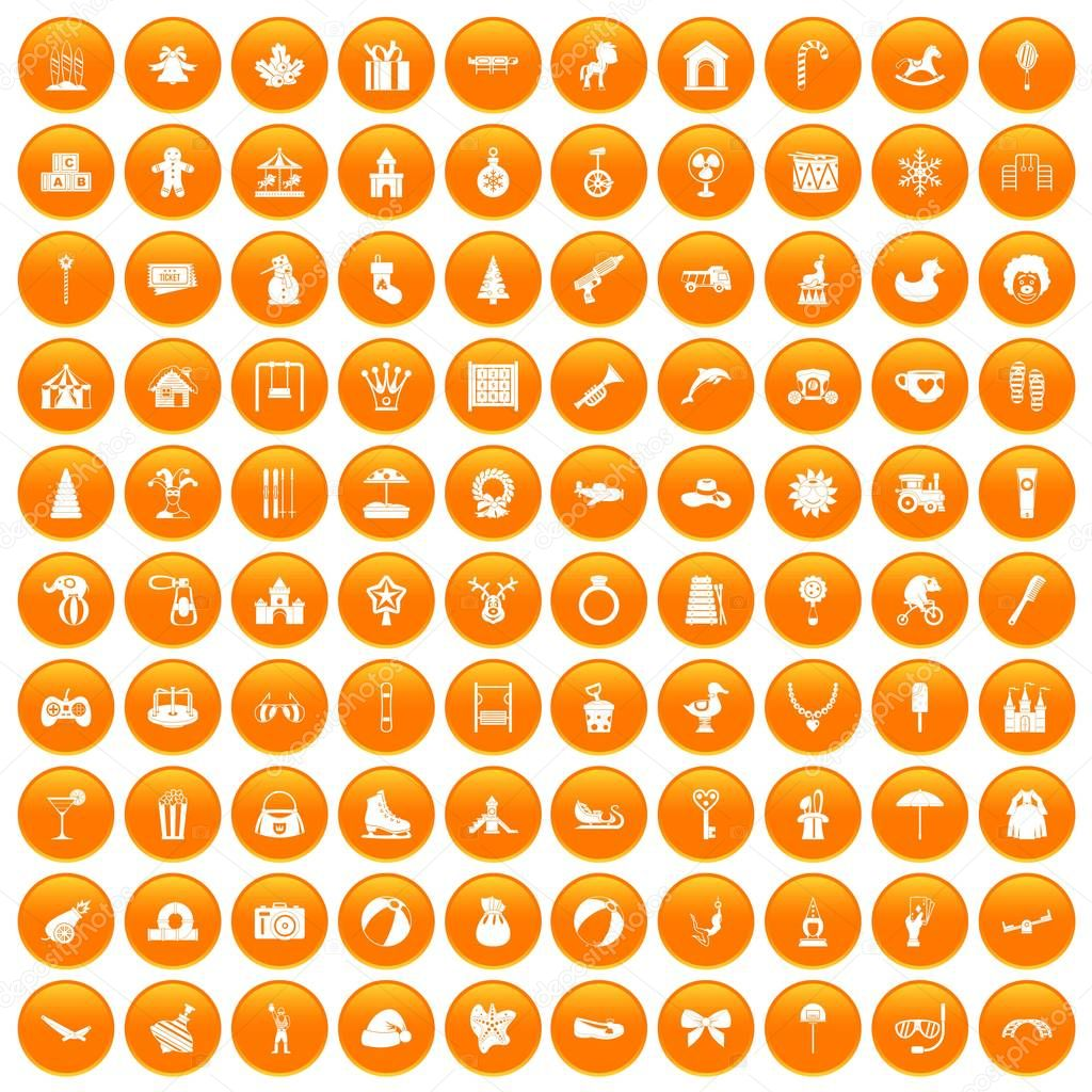 100 happy childhood icons set orange