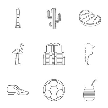 Buenos Aires travel icons set, outline style