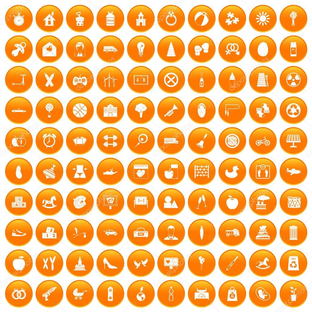 100 maternity leave icons set orange