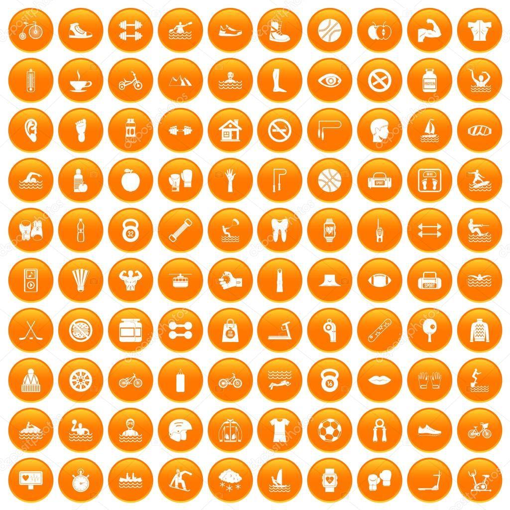 100 men health icons set orange