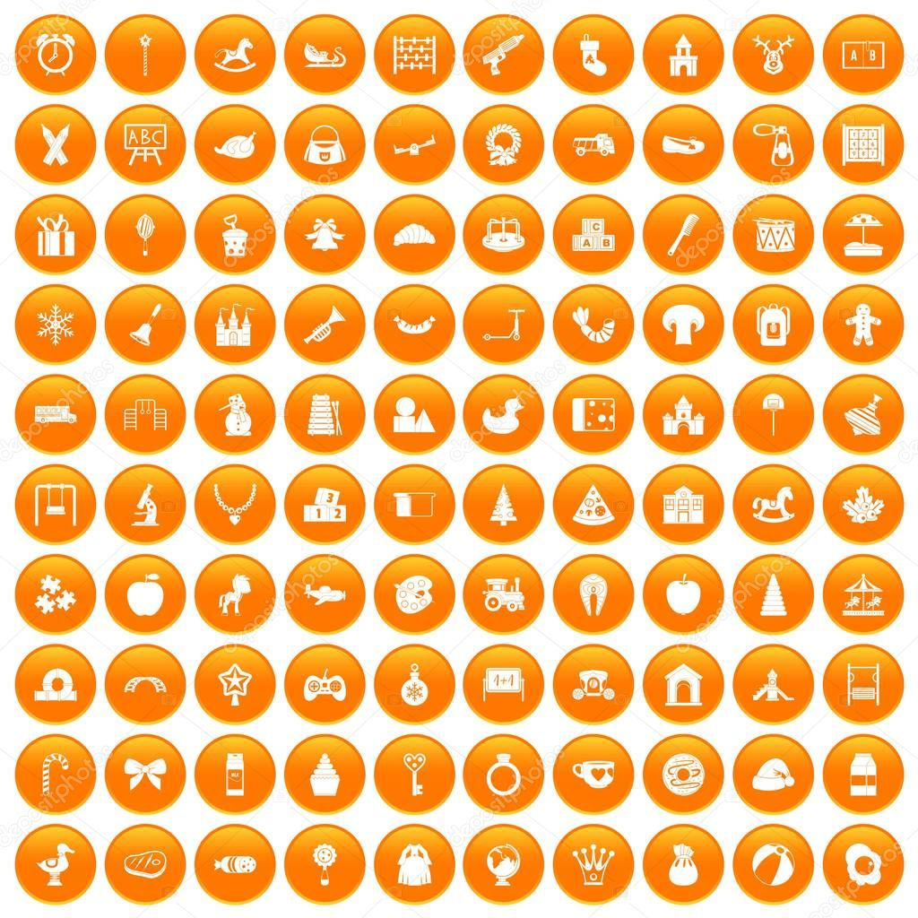 100 nursery school icons set orange