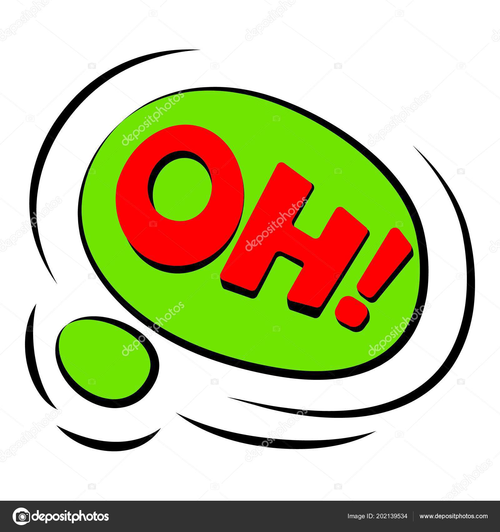 Oh sound effect icon, cartoon style — Stock Vector