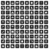 Fotografie 100 happy childhood icons set black