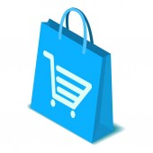 Shopping bag icon, isometric style