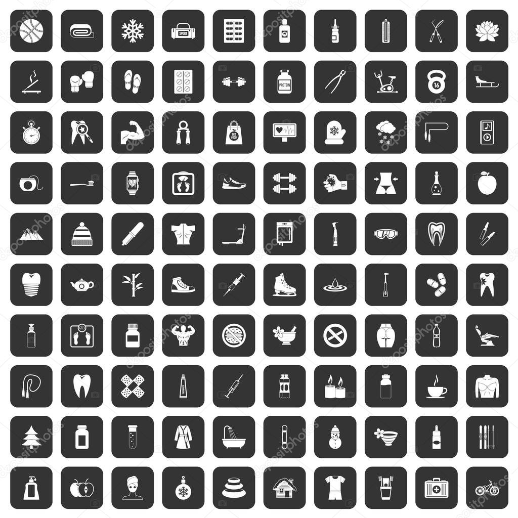 100 fit body icons set black