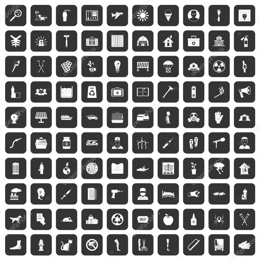 100 help icons set black