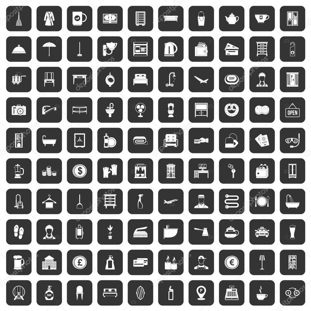 100 inn icons set black