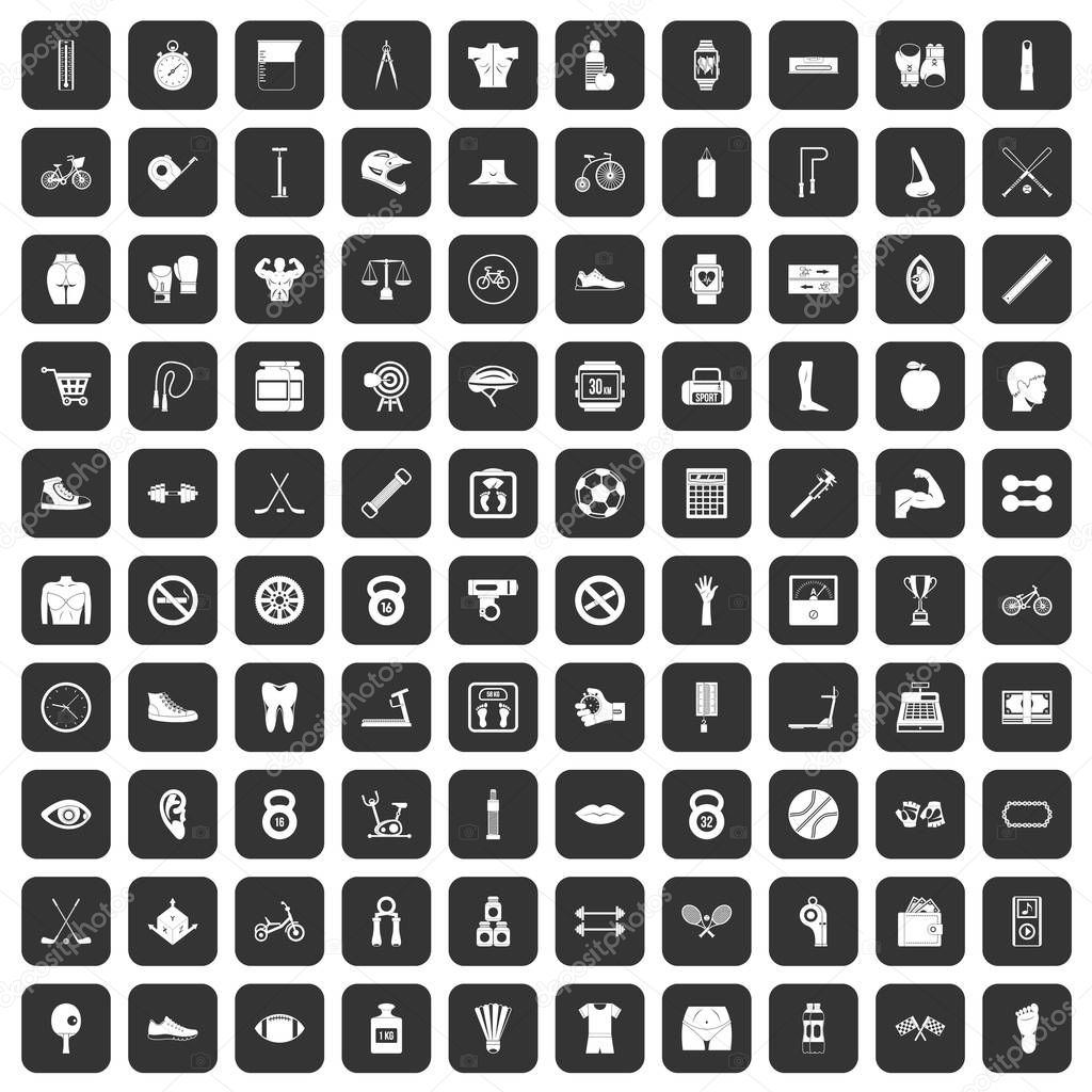 100 kettlebell icons set black