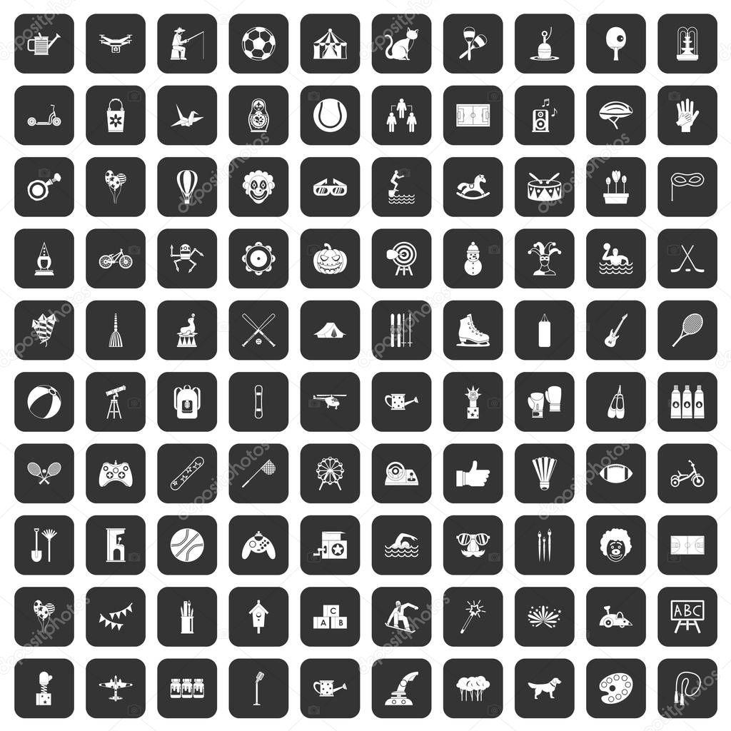 100 kids activity icons set black