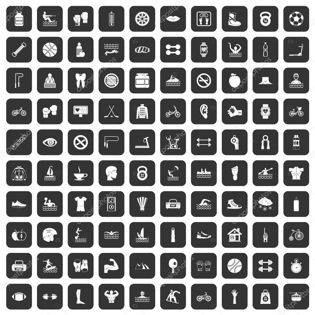 100 men health icons set black