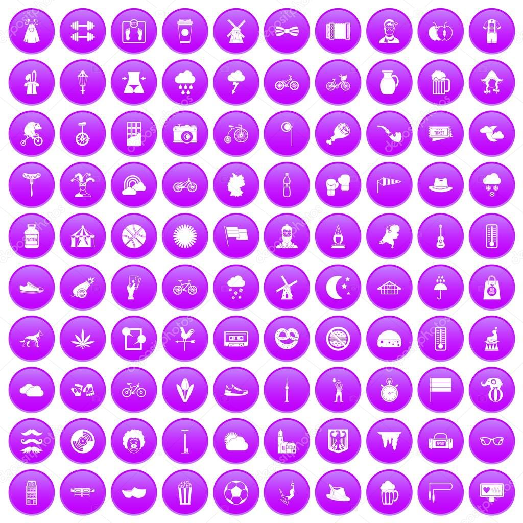 100 bicycle icons set in purple circle isolated on white vector illustration