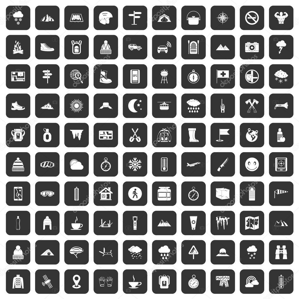100 mountaineering icons set black