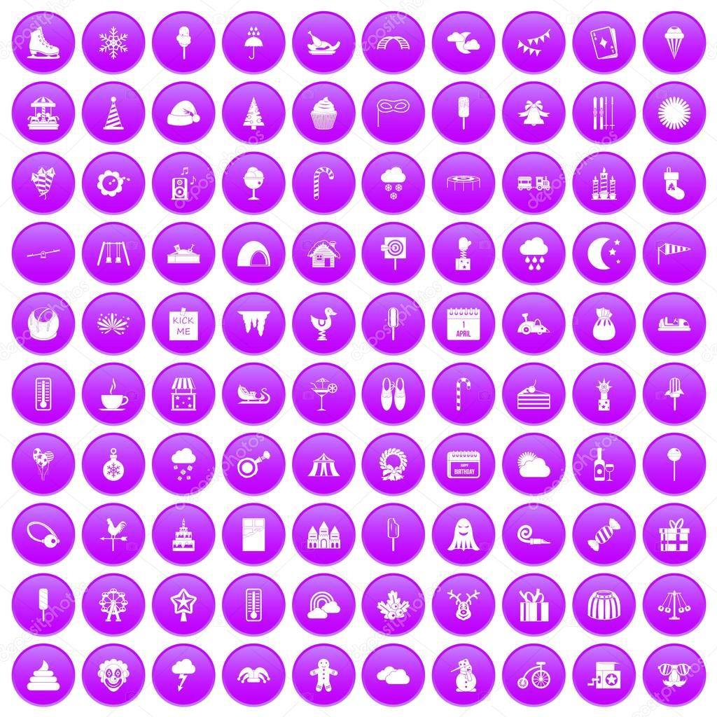 100 childrens parties icons set purple