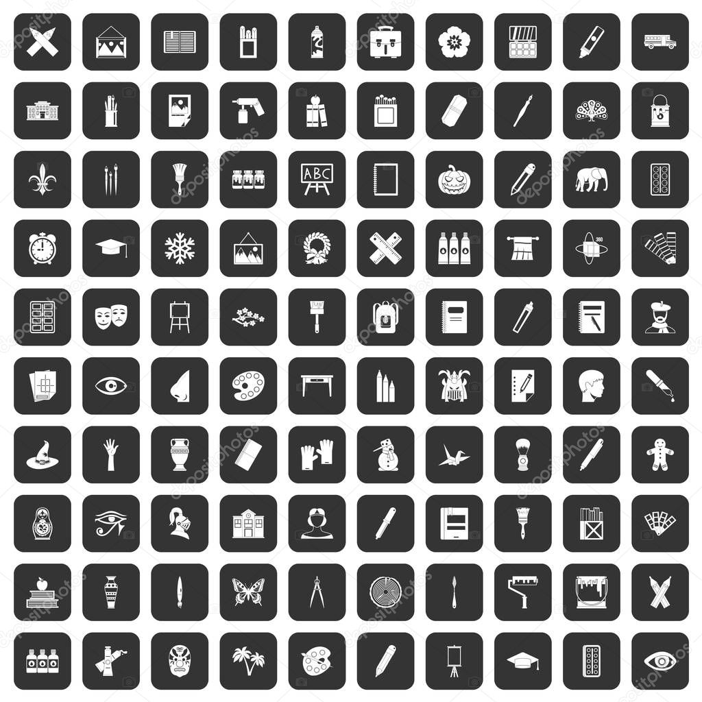 100 paint school icons set black